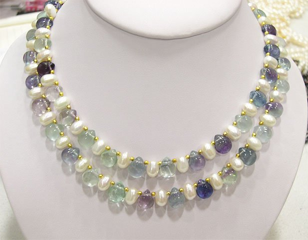 2ROW 17'' WHITE GENUINE CULTURED PEARL&FLUORITE NECKLACE