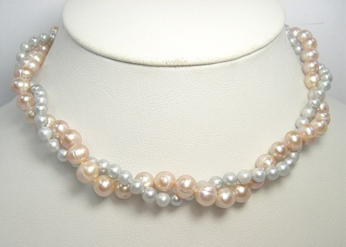 2ROWS PINK SILVER-GREY Cultured Pearl Necklace