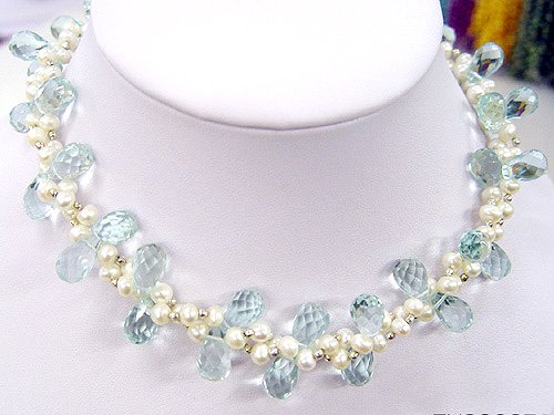 2rows CULTURED PEARL&GEMS NECKLACE 925S