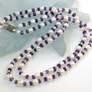 2rows Genuine White Cultured Pearl&Crystals Necklace