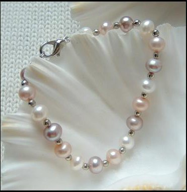 3-COLOR Genuine Cultured PEARL BRACELET