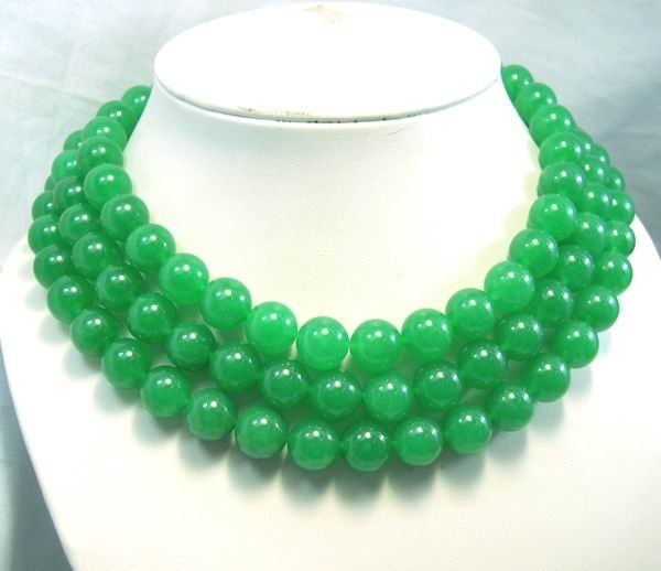 3Rows Huge 12mm Green Jade beads Necklace 925S
