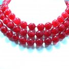 3Rows Huge 12mm RED Jade beads Necklace 925S