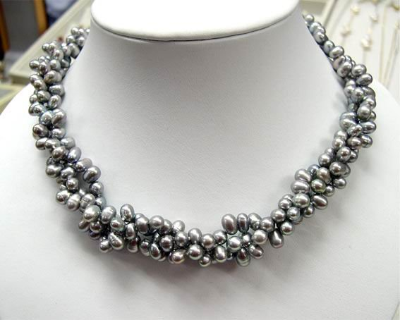 3Rows Silver Gary Genuine Cultured Pearl Necklace