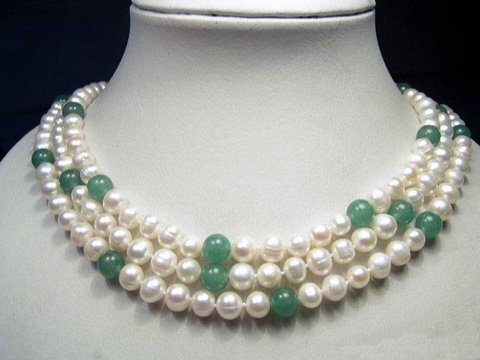 3rows 7-8mm white cultured pearl&natural jades necklace