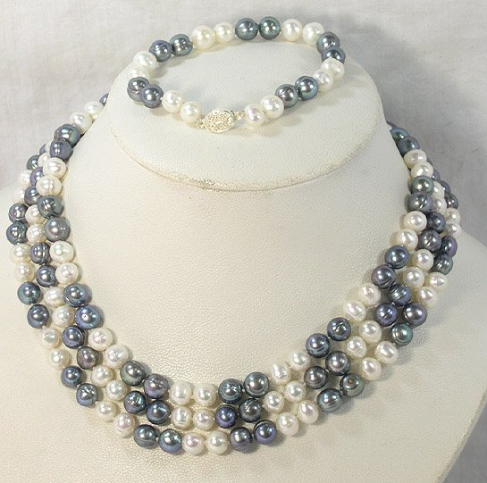 51'' 8-9MM WHITE BLACK CULTURED PEARL NECKLACE&BRACELET