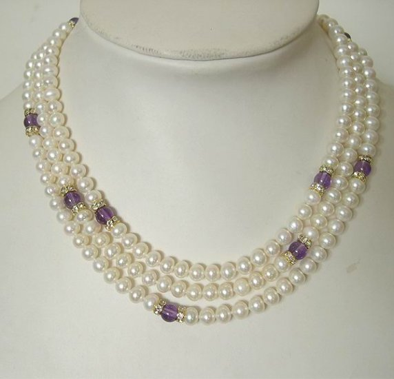51'' High Luster Cultured Pearl&Natural Amethyst Necklace