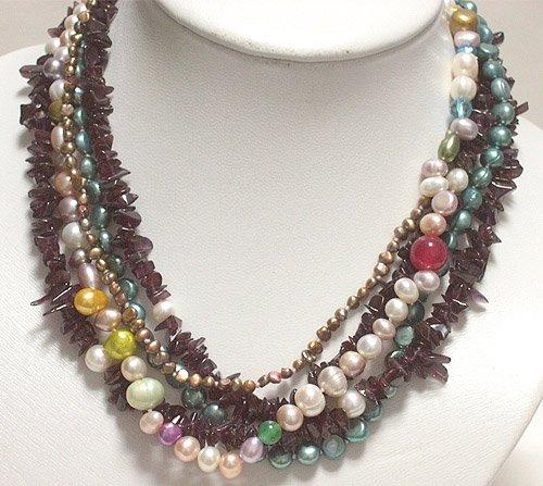 5rows cultured MULtiCOLOR pearl&GARNET necklace