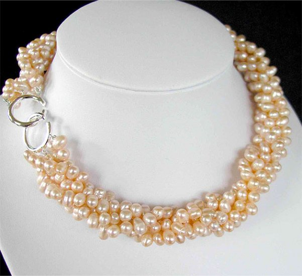 5rows pink genuine cultured Pearl Necklace