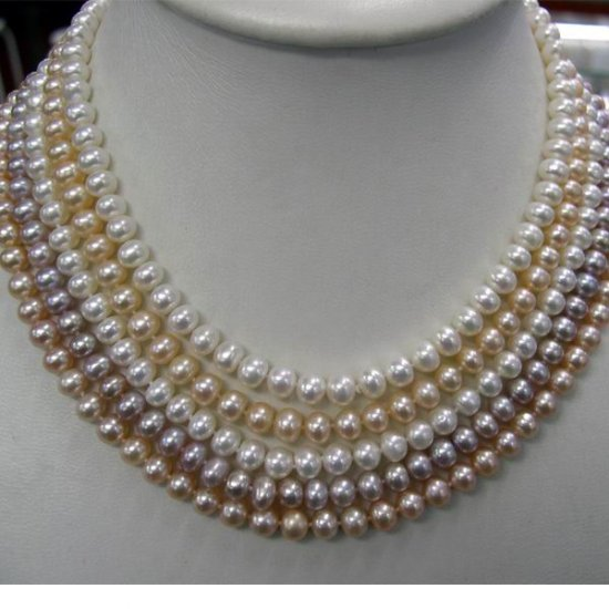 5strands MULTICOLOR Cultured Pearl Necklace