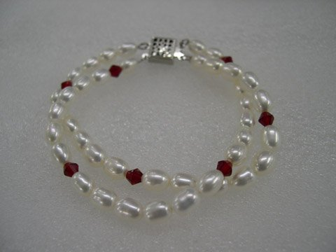 7.5'' 2 rows white Cultured Pearl&crystal bracelet