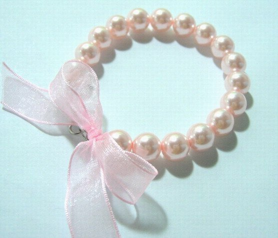 8'' 10MM PINK SOUTH SEA SHELL PEARL RIBAND BRACELET