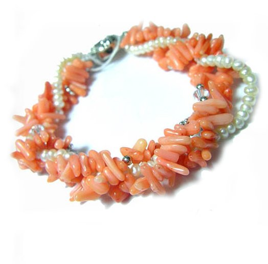 8'' 4rows Red Corals&White Cultured Pearls Bracelet