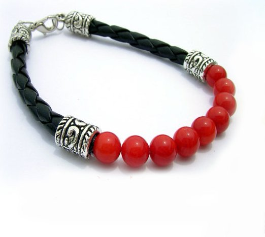 "8"""" Red Coral Beads Bracelet"