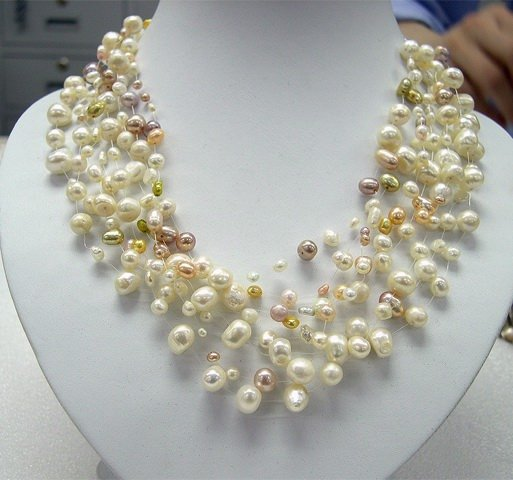 8ROWS L.MULTI-COLORS CULTURED PEARL NECKLACE