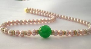 AAA 16'' 14mm green Jade&Pink pearl Necklace
