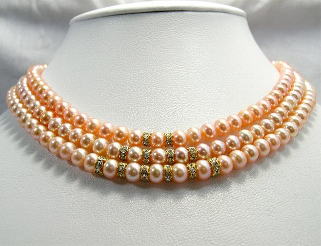 AAA 3rows PINK Genuine Cultured Pearl Necklace 925
