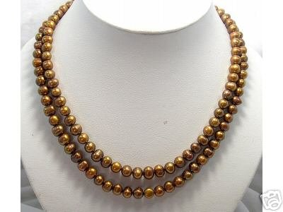 BAROQUE 18''-19'' 2row Coffee Cultured Pearl Necklace 925s