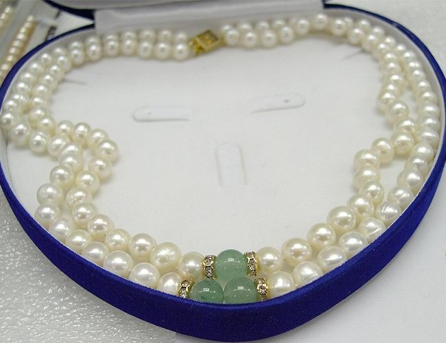BAROQUE 2ROWS CULTURED PEARL&NATURE JADE NECKLACE