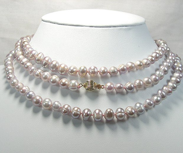 BAROQUE 48'' 8MM LAVENDER Cultured Pearl Necklace
