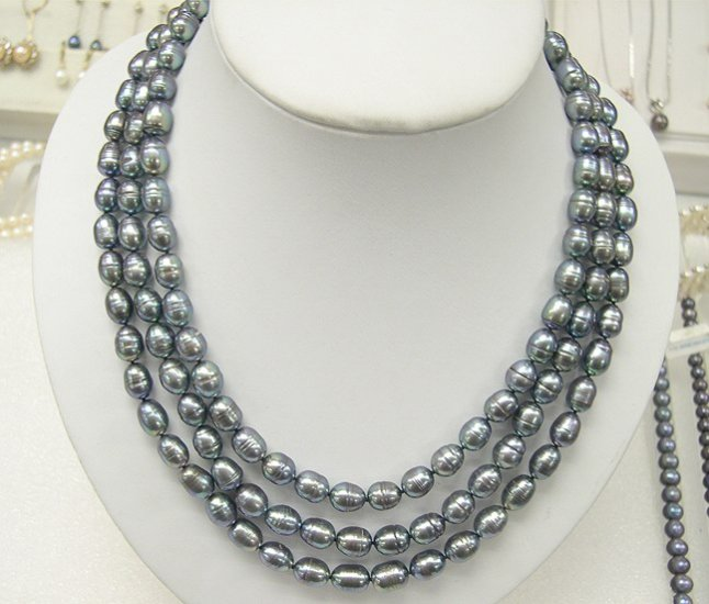 BAROQUE 8-9MM 3rows Genuine Cultured Pearl Necklace 925