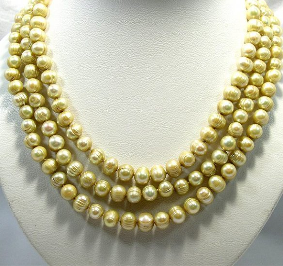 BAROQUE 9-10MM 3rows Champagne Pearl Necklace 925