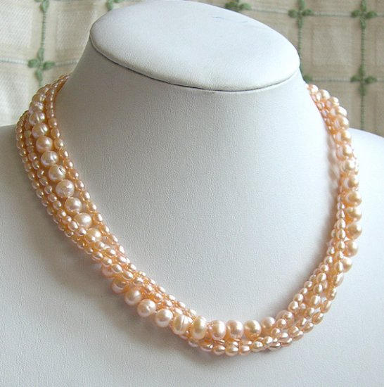 BEAUTIFUL 4ROWS PINK GENUINE CULTURED PEARL NECKLACE