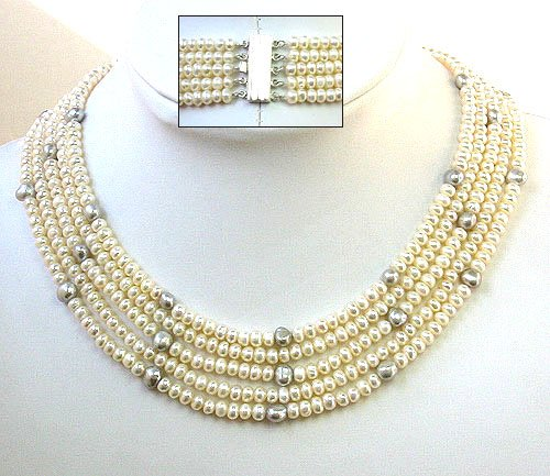 Beautiful 16-20inch 5rows cultured pearl necklace 925S