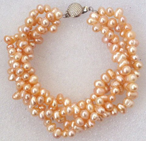 Beautiful 7.5'' 4rows 6-7mm pink cultured pearl bracelet