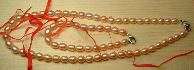 Beautiful 1 stand pink Cultured Pearl necklace & bracelet
