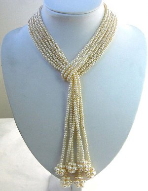 Beautiful 3-pcs 42'' cultured pearl long necklaces