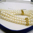 Beautiful 3rows white FW Cultured Pearl Bracelet
