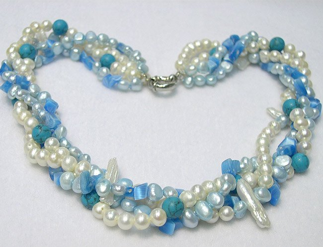 CHARMING 4ROWS WHITE BLUE CULTURED PEARL & GEMS NECKLACE