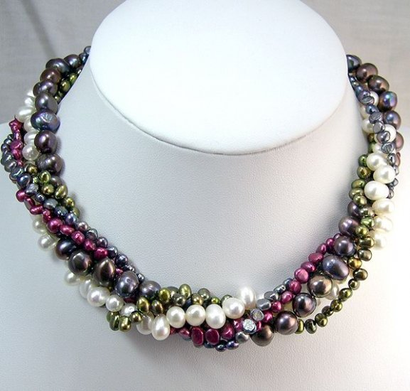 CHARMING 5rows Multicolor Cultured Pearl Necklace 925s