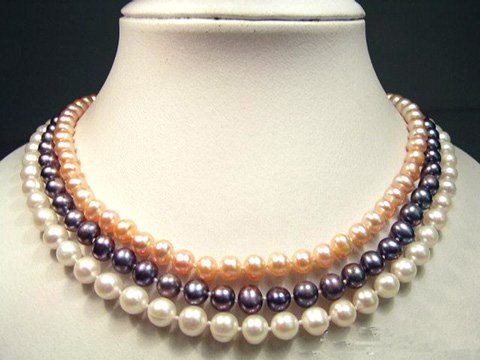 CHarming 3row 6-7mm multicolor cultured pearl necklace