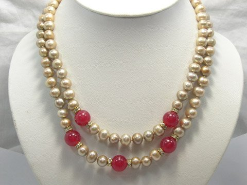 Charming 17''-18'' 8-9 mm cultured pearl & jade Necklace