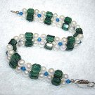 Charming 2rows white cultured pearl & crystal bracelet