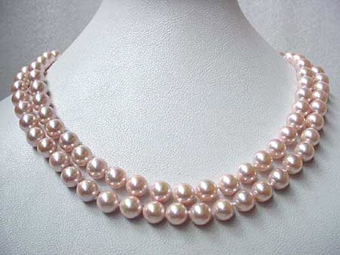 Charming 35'' 8mm south sea shell pearl pink necklace