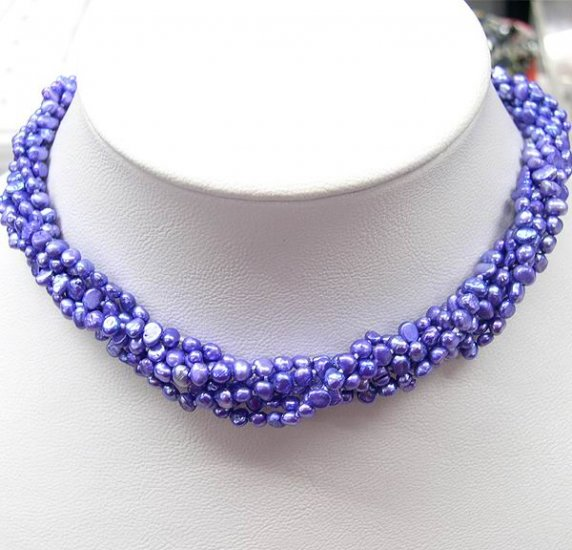 Charming 5row Beautiful blue color Cultured Pearl Necklace