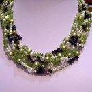 Charming 6rows Cultured Pearl & Garnet NECKLACE 925s