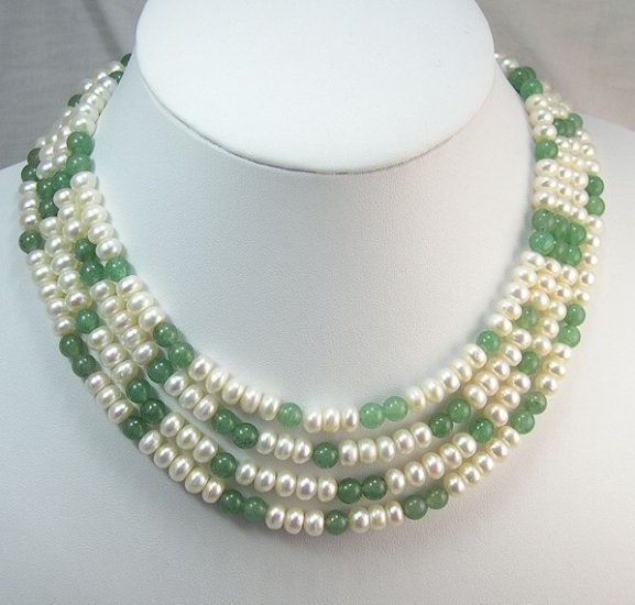 Charming 72'' white Cultured Pearl Jade Necklace