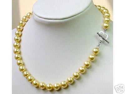 Charming AAA 10mm sea shell Pearl Necklace 925s