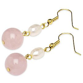 Charming pink jade & white cultured pearl earring 18kgp