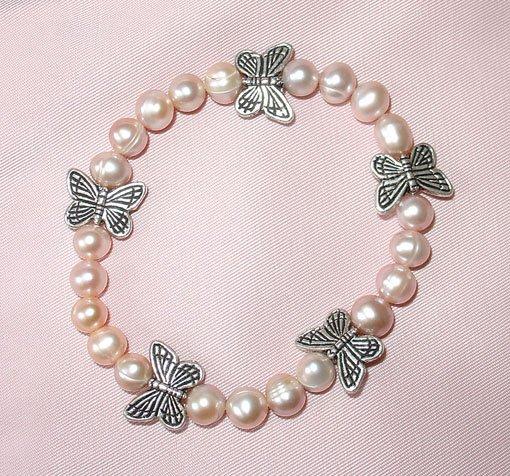 Charming single Pink Genuine Cultured Pearl Bracelet