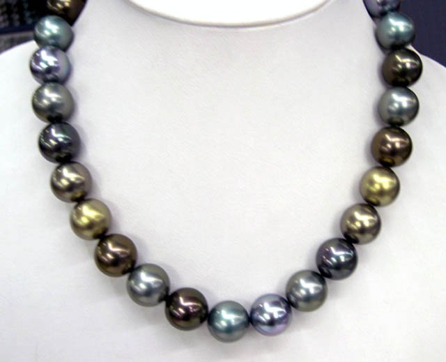 Dark color 14mm south sea shell pearls necklace