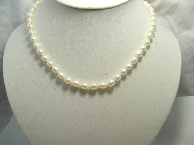 ELEGANT 17'' CULTURED WHITE PEARL NECKLACE