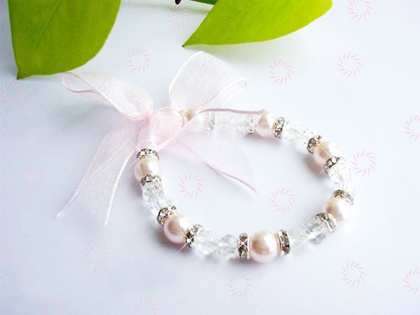ELEGANT PINK SOUTH SEA SHELL PEARL & CRYSTAL BRACELET