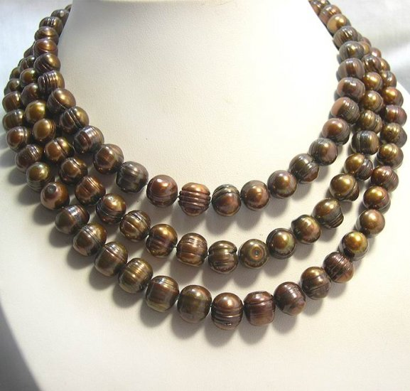 EXCELLENT 3Rows Cultured Pearl Necklace 925S