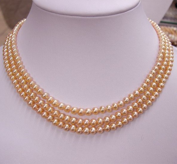 EXCELLENT 3rows pink Cultured Pearl Necklace 925s