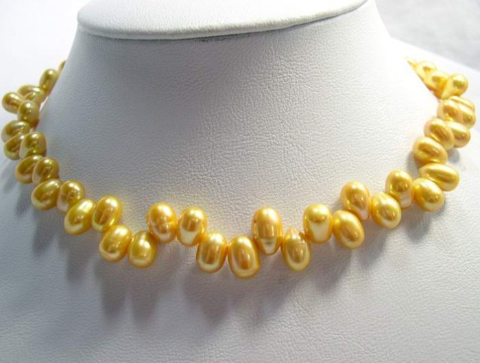 EXCELLENT 8-11MM Gold Cultured Pearl Necklace